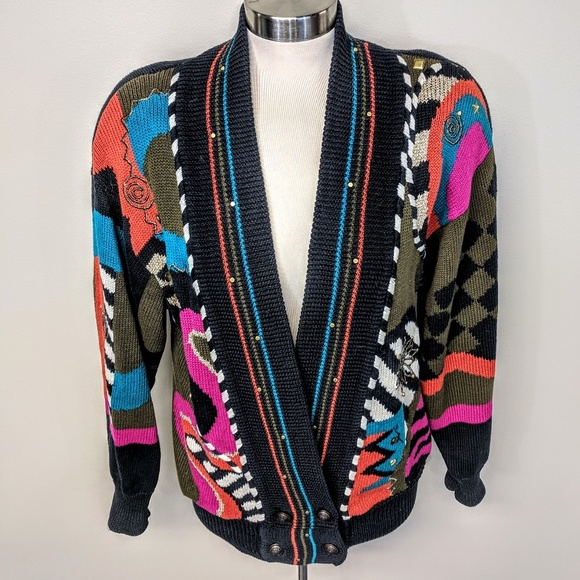 i.b.diffusion Sweaters - I.B Diffusion Graphic Print Cardigan